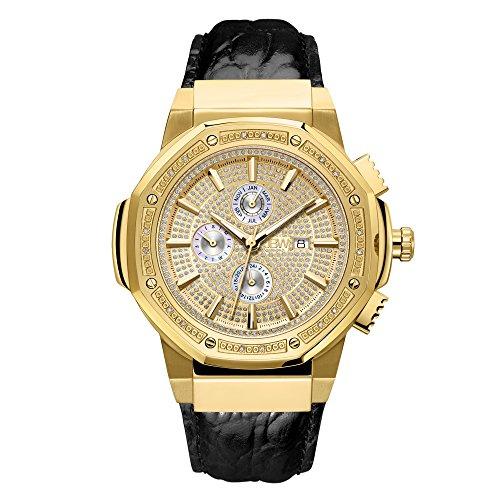 JBW JB-6101L-10A - Reloj de pulsera para hombre con diamantes de 0,16 quilates y chapado en oro de 18 quilates