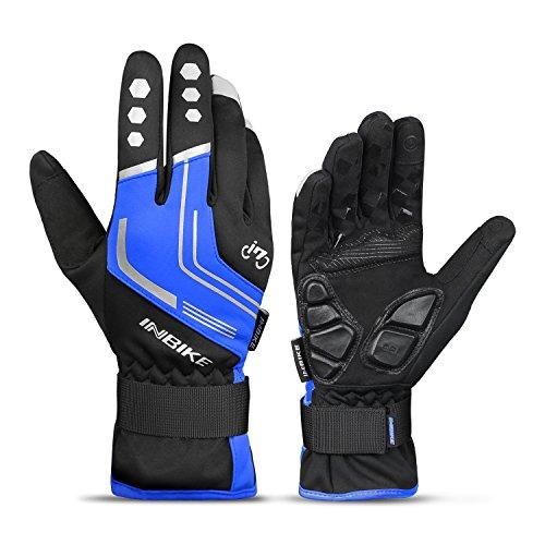 INBIKE Winterhandschuhe Fahrrad MTB Handschuhe Herren Damen Winter Touchscreen Fahrradhandschuhe Beheizbar für Radsport Road Race Downhill Wandern(Blau L)