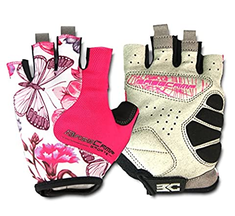FreeMaster Fingerless Gym Gloves Pink Cycling Gloves Workout Exercise Gloves
