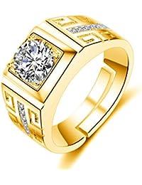 Dc Jewels 24Kt Gold Swarovski Crystal Adjustable Mens Rings