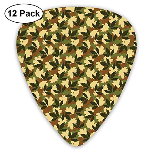 Guitar Picks12pcs Plectrum (0.46mm-0.96mm), Leafage Pattern With Nature Theme Camo Style Forest Woodland Hiding Design,For Your Guitar or Ukulele -