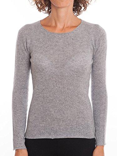 DALLE PIANE CASHMERE Rundhalsausschnitt 100% Kaschmir - Damen, Farbe: Grau, Größe: L (Grau 100% Kaschmir)