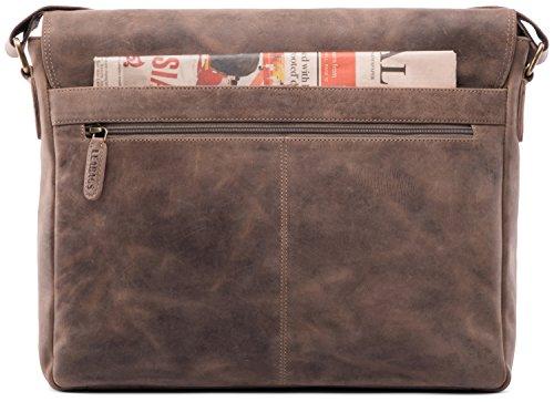 LEABAGS Oxford sac bandoulière rétro-vintage en véritable cuir de buffle - Olive Fallow