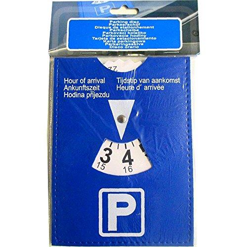 Disco Orario in Ecopelle per Parcheggio auto, colore blu, flessibile, 11 x 15 cm, 5 lingue