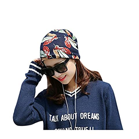 Ladies Beanie Hats, Transer® Women Stretchy Printing Turban Head Wrap Band Chemo Hat Bandana Pleated Caps Girls Solid Baggy Hood Cotton Hats (Navy)