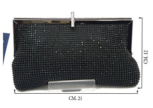 Pochette elegante in tessuto tempestato di strass colore nero, con tracolla catena removibile-Mon0028n nero