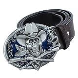 Sharplace Rétro Ceinture en Cuir PU avec Ornement Boucle de Crâne et Serpent Leather Belt Pour Western Cowboy Cowgirl Jeans - Marron, 125x3.8cm