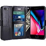iPhone 7 Hülle, LK Luxus PU Leder Brieftasche Flip Case Cover Schütz Hülle Abdeckung Ledertasche für Apple iPhone 7 (Schwarz)