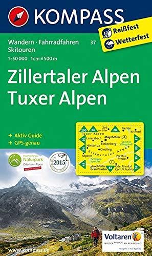 Zillertaler Alpen - Tuxer Alpen: Wanderkarte mit Aktiv Guide, Radwegen und Skitouren. GPS-genau. 1:50000: Wandelkaart 1:50 000 (KOMPASS-Wanderkarten, Band 37) -