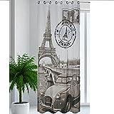 JEMIDI Ösenschal New York und Paris Ösen Schal Schlaufen Blickdicht aber Lichtdurchlässig Gardine Vorhang Paris