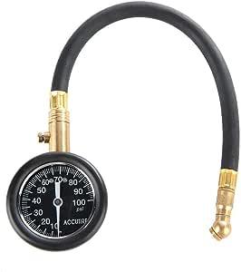 Reminnbor Air Pressure Gauge Alloy 100psi Tire Inflator Gauge Portable Tyre Pressure Meter for Car