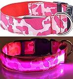 LEUCHTENDES Hunde-Halsband, Größe: XL (52-60cm / 2,5cm breit), PINK CAMOUFLAGE-Design, mit Klickverschluß. LED's leuchten und blinken im Dunkeln.