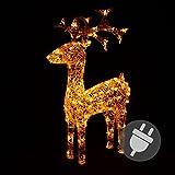 Rentier Acryl 120 LED Weihnachtsbeleuchtung Weihnachten Deko Figur 100 cm warm weiß