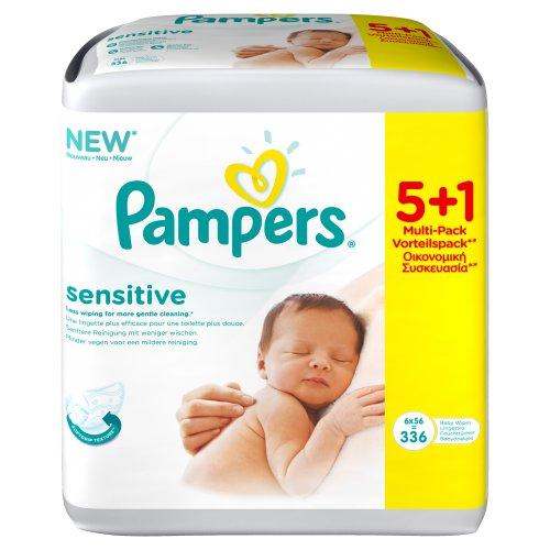 Pampers Feuchte Tücher Sensitive 5 Packungen + 1 Packung Gratis, 2er Pack (2 x 336 Stück)