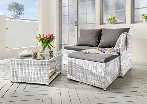 Destiny Lounge Gartenmöbelset Loft II Antikweiß Loungeset Balkonset Sitzgruppe Polyrattan