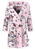 Enfants Peignoir à Capuche imprimé Animal Robe de Chambre Douce Flanelle à Capuchon Peignoir de Bain (Licorne Rose, 7-8T / Hauteur 140cm)