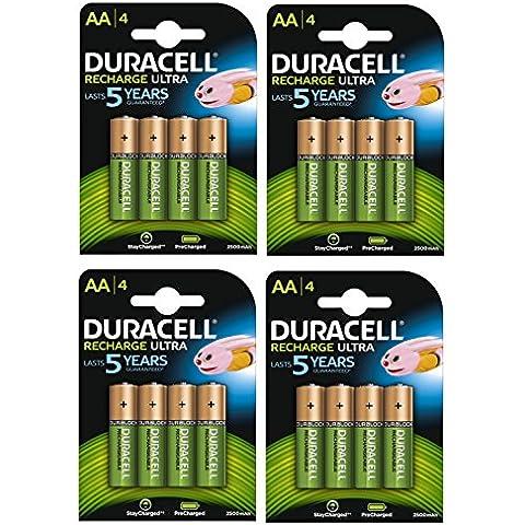 Duracell pilas recargables AA 2500mAh Recarga Ultra–Pack de 4–Pre Cargar/stay starged Reemplazar 2400