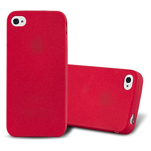 Cadorabo - TPU Frosted Matte Silikon Hülle für >          Apple iPhone 4 / 4S          < - Case Cover Schutz-Hülle Bumper in FROST-DUNKEL-BLAU FROST-ROT