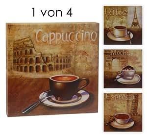 1 kaffee wandbild auf leinwand kunstdruck auf holz rahmen deko bilder f r k che oder. Black Bedroom Furniture Sets. Home Design Ideas
