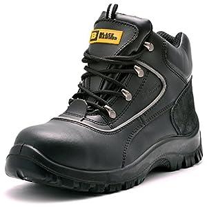 para Hombre de Piel de Botas de Seguridad para Hombre Puntera de Acero de Seguridad Botas de Seguridad S3 SRC Calzado de Trabajo Tobillo Piel 7752 Black Hammer
