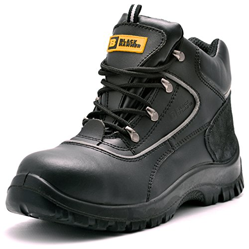 76051b0bc68 Mens Safety Boots Steel Toe Cap S3 SRC Work Shoes Ankle Leather 7752 Black  Hammer