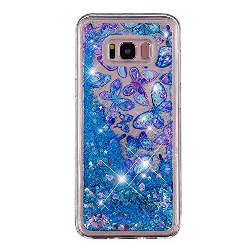 Glitzer Flüssig Handyhülle für Galaxy S8, EDAROO Bling Blaue Herzen Glänzend Glitter Fließende Treibsand Flüssigkeit Wasser TPU Silikon Schutzhülle für Samsung Galaxy S8 - Aquarell Schmetterlinge