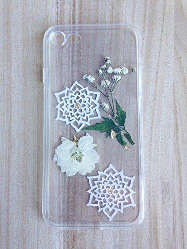 IPhone 7 / 7s / 8 Fälle aus strapazierfähigem transparentem Gummi mit weißem Blumen-Mandala-Design und echten Blumen und Blättern