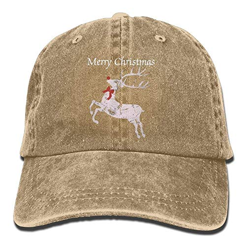 Osmykqe Vintage Weihnachten Rentier Unisex Baumwolle Denim Baseball Cap einstellbar Snapback Topee für Männer & Frauen 03VV9086