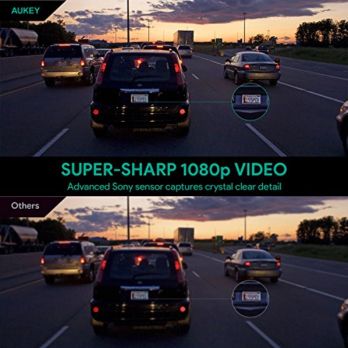 """51QDcbNrPGL - AUKEY Dashcam, Full HD 1080P Cámara para Coche 170° Grados de Amplio Ángulo con Detección De Movimiento, Visión Nocturna, G-Sensor, Loop de Grabación, 1.5"""" LCD Pantalla (DR02)"""