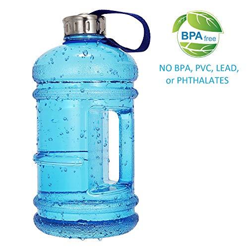 Wesoke 2.2L / 75OZ große Wasserflasche, große Kapazität auslaufsicherer PETG Plastiksport-Krug mit Griff, halber Gallone enormer Hydrat-Trinkbehälter für im Freien Eignung-Reise-Gymnastik Radfahren