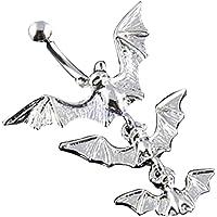 Bismarckber, piercing per ombelico punk con pipistrelli volanti