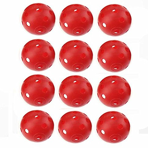 40mm balle de golf en plastique rouge Airflow, Lot de 12