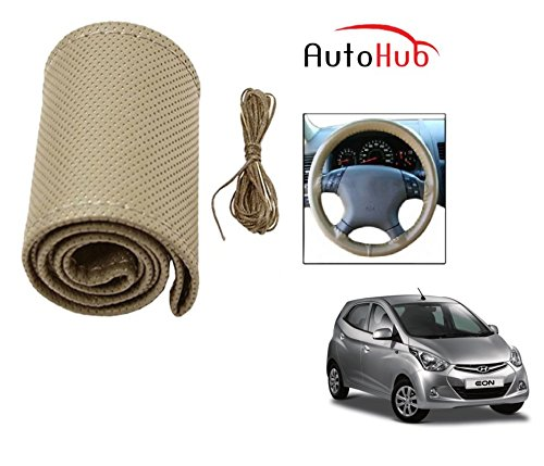 Auto Hub Premium Quality Car Steering Wheel Cover For Hyundai Eon - Beige  available at amazon for Rs.199