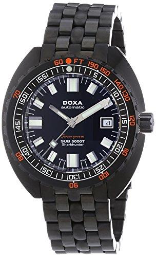 DOXA SUB 5000T Military Edition Sharkhunter PVD Herren Automatik Uhr mit schwarzem Zifferblatt Analog-Anzeige und schwarz Edelstahl vergoldet Armband 880.30.101N.11