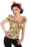 PIN UP´s Hibiskus Blüten Flower Puffärmel Stretch Carmen Shirt TOP