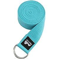 Reehut Correa para Yoga (1.8m, 2.4m, 3m) - Cinturón con Hebilla Metal D-Anillos de 100% Algodón Resistente para Ejercicios de Estiramiento, Fitness, Pilates y Flexibilidad(Azul Cielo,1.8m,6ft)