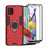 HAOYE Cover per Samsung Galaxy Note 10 Lite + 2 Vetro Temperato, Armor Custodia con 360 Gradi Girevole Anello e Supporto Magnetico Auto, Silicone TPU e PC Doppio Strato Protettiva Bumper. Rosso