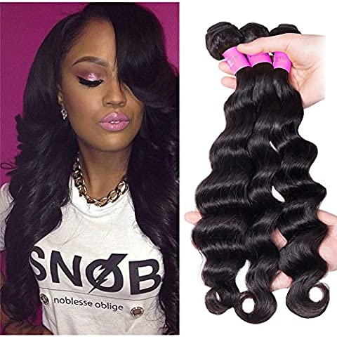 Richair 100% Human Hair 3Bundles Tissage Malaisien Loose Ondule Couleur #1B 18 20 20 Pouces(45 50 50cm) Tissage Double Cousua La Machine 300g