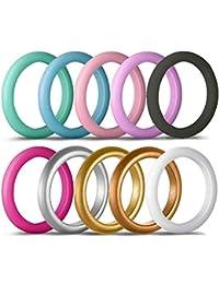 Bande d exercice en silicone pour alliances 3mm large unisexe anti-dérapant  bagues en silicone multicolore pack… d57cf0d8e31