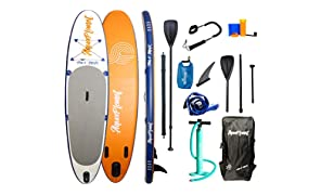 "AQUAPLANET 10ft 6"" x 15cm MAX Stand Up Paddle board kit. Air Pump With Pressure Gauge,Adjustable Aluminium Floating Paddle, Repair Kit,Heavy Duty Rucksack,Premium Leash & 4 Kayak Seat Rings"