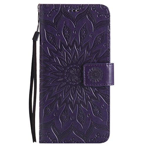 Kompatibel mit Handyhülle Huawei Mate 9 Leder Tasche Schutzhülle Handy Tasche Mandala Blumen Muster Book Case Leder Hülle Kunstleder Cover Klapphülle Flip Case Magnetverschluss,Lila