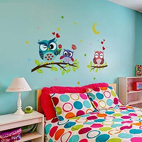 MOIKA Stickers Muraux Enfants Décoration d'intérieur Amovible Animal Cartoon Imperméable Hibou Mur Autocollant Chambres d'enfants Bébé Garçons Filles Cuisine Nursery Wall Sticker Posters(Multicolore)