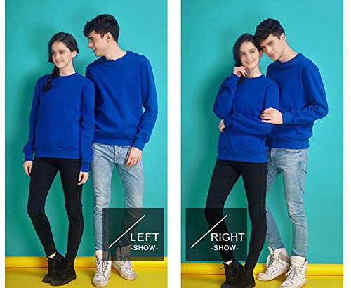 LaoZan Sweatshirt / Felpa a manica lunga da Unisex , Girocollo Tinta Unita Blu zaffiro + primavera