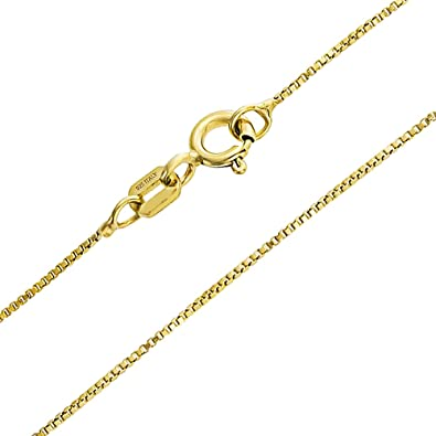 Bling Jewelry Thin 14k Yellow Italian Gold Box Chain 16 Inches