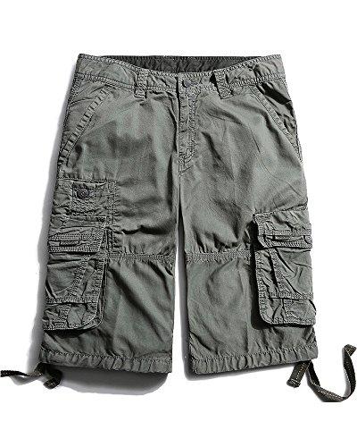 Herren Cargo Shorts Cargohose kurze Hose Loose Fit aus Baumwolle Hosentasche Overall #3288 Grey