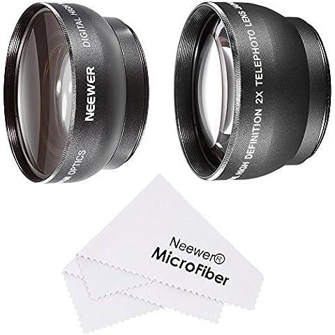 Neewer® 52mm lente set Para Nikon DSLR D7100D7000D5200D5100D5000D3300D3200D3100D3000D90D80Cámaras réflex digitales–incluye: (1) 0.45x gran angular lente + 2x teleobjetivo de alta definición + 1+ (1) paño de limpieza de
