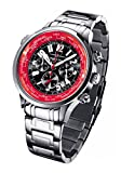 FIREFOX WORLDTIMER FFS40-105 schwarz/rot Weltzeitanzeige Chronograph Herrenuhr Armbanduhr Sicherheitsfaltschließe massiv Edelstahl wasserdicht Miyota OS20 Werk