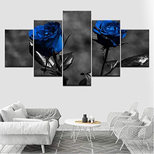 Dekor, Gerahmte Kunst (yangwuju Poster Modulare Bilder Leinwand 5 Stücke Blaue Rosen Blumen Gemälde Moderne Kunst Gerahmte Dekor Für Wohnzimmer Wand Home HD Drucke)