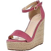 COOLCEPT Zapatos Mujer Verano Cool Comodo Al Tobillo Tacon de Cuna Sandalias