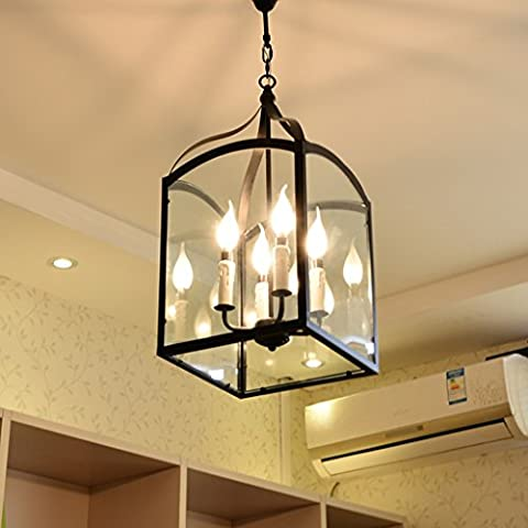 Americano rurale Lampadario in ferro semplice nordici Ristorante studio lampade e lanterne Foyer creativo Retro